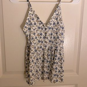 Flowy Blue and White Tank Top